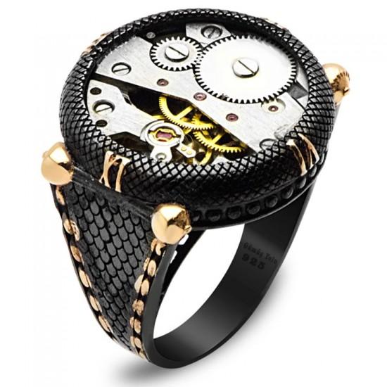 Tasarım Saat Mekanizmalı Siyah Rodaj Gümüş Erkek Yüzük