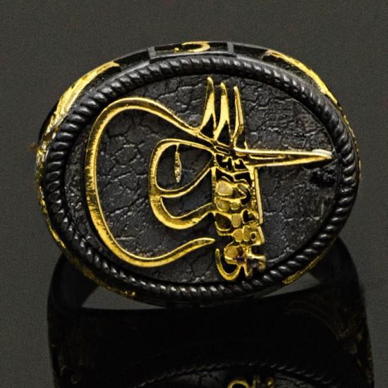 Özel Tasarım Fatih Sultan Mehmet Tuğralı Çift Başlı Kartal Figür Gümüş Erkek Yüzük 925 Ayar