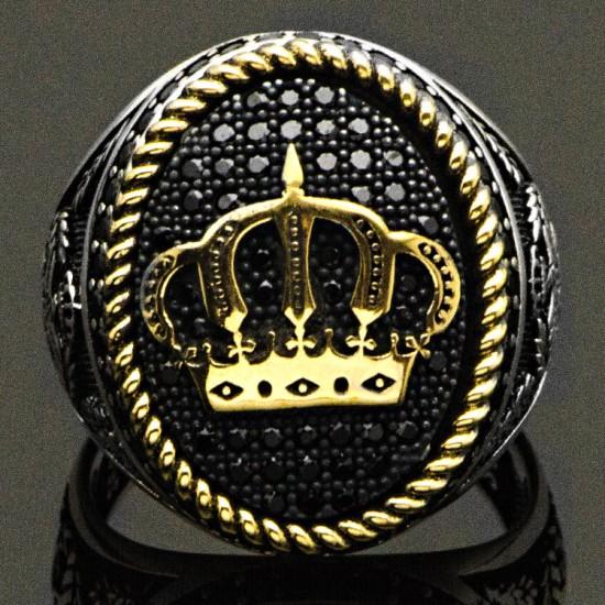 Zirkon Taşlı Kral Tacı Gümüş Erkek Yüzük 925 Ayar