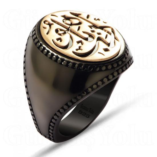Arapça Edep Yahu Siyah Rodaj Gümüş Erkek Yüzük 925 Ayar
