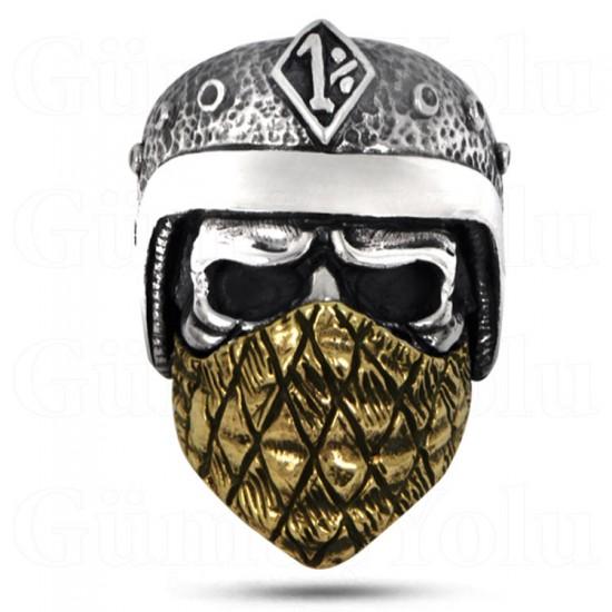 Buff Maskeli Kuru Kafa 925 Ayar Gümüş Yüzük