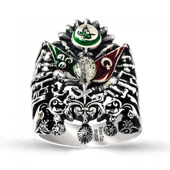 Osmanlı Devlet Sancağı Özel Tasarım 925 Ayar Gümüş Erkek Yüzüğü