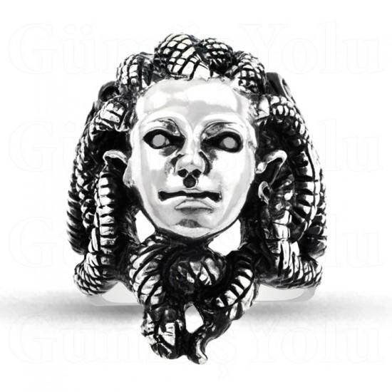 Özel Tasarım Yılan Saçlı Medusa Model 925 Ayar Gümüş Erkek Yüzük