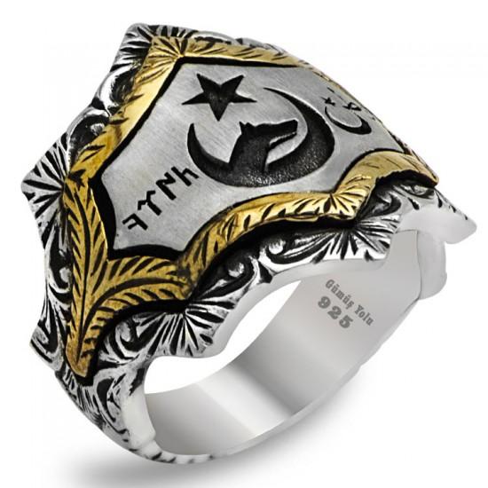 Usta İşi Göktürk Alfabesi Türk Yazılı Gümüş  Erkek Yüzük 925 Ayar Gümüş