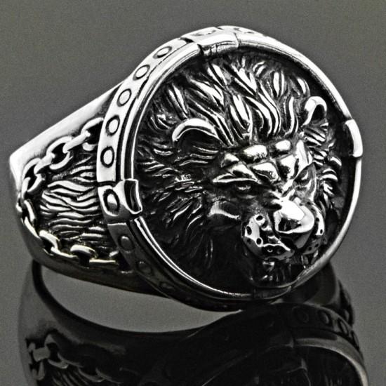 Aslan Başı Gümüş Erkek Yüzük 925 Ayar