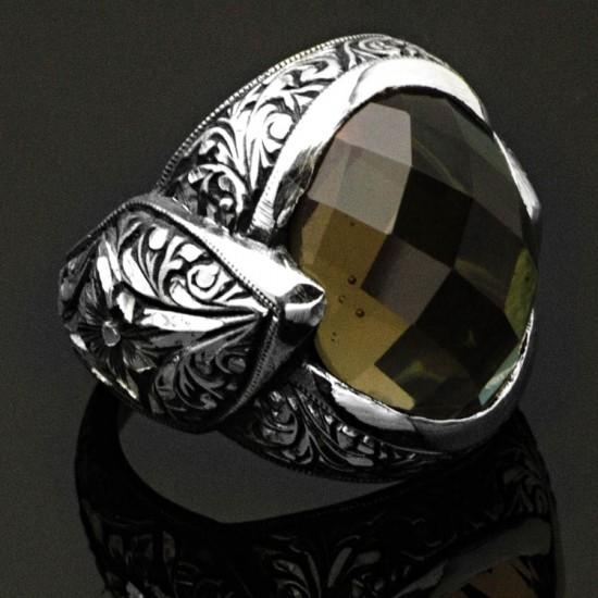 Erzurum Kalem İşlemeli Orijinal Zultanit (Işığa Göre Renke Değiştirir) Gümüş Erkek Yüzük 925 Ayar