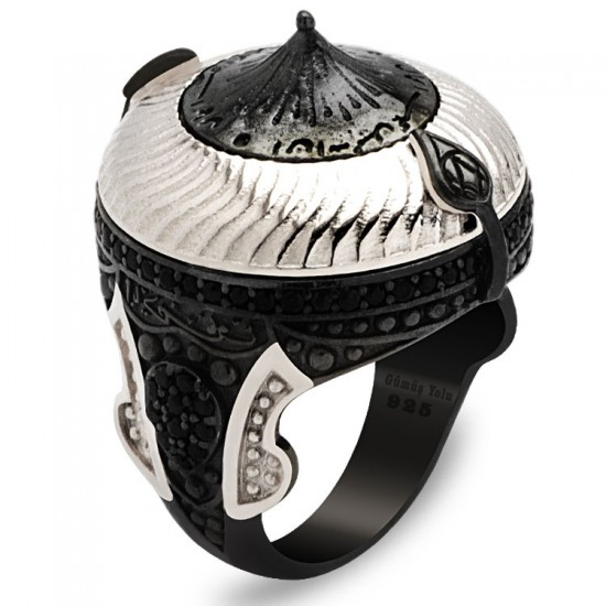 Özel Koleksiyon Fatih Sultan Mehmet Savaş Miğferi Gümüş Erkek Yüzük 925 Ayar