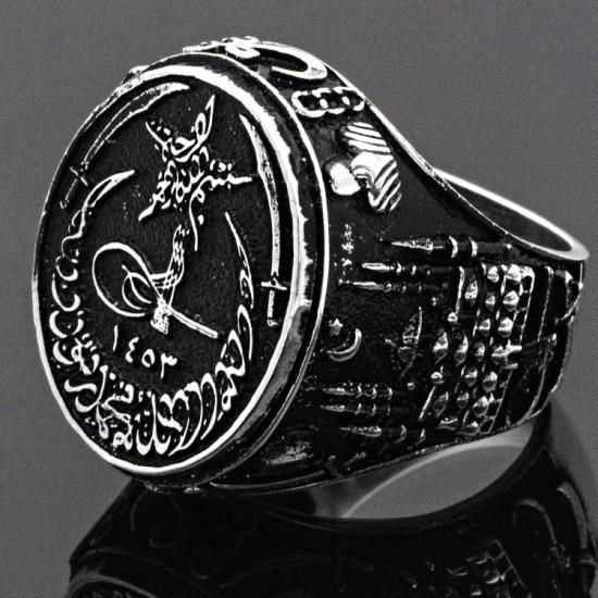 Usta İşi İstanbul Siluet işlemeli Fatih Tuğralı Gümüş Erkek Yüzük 925 Ayar