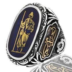 Usta İşi Hacı Bektaş Figür La Tahzen Dua  ve Hilafet Sancaklı  Gümüş Erkek Yüzük 925 Ayar