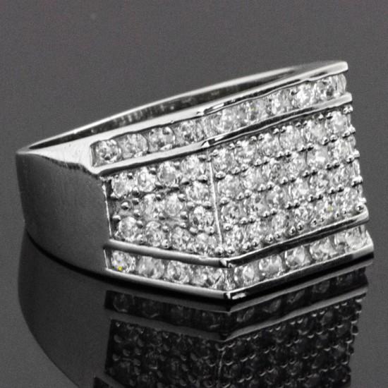 İtalyan Tasarım Taşlı Gümüş Erkek Yüzük 925 Ayar