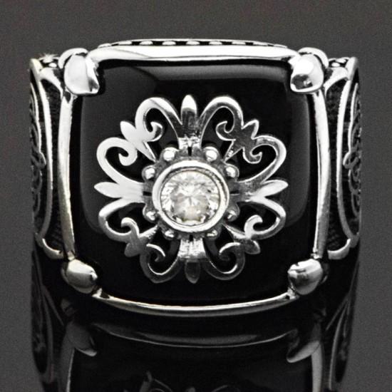 İtalyan Tasarım Kral Tacı Tek Taş Gümüş Erkek Yüzük 925 Ayar