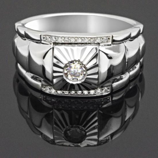 İtalyan Tasarım  Tek Taş Gümüş Erkek Yüzük 925 Ayar