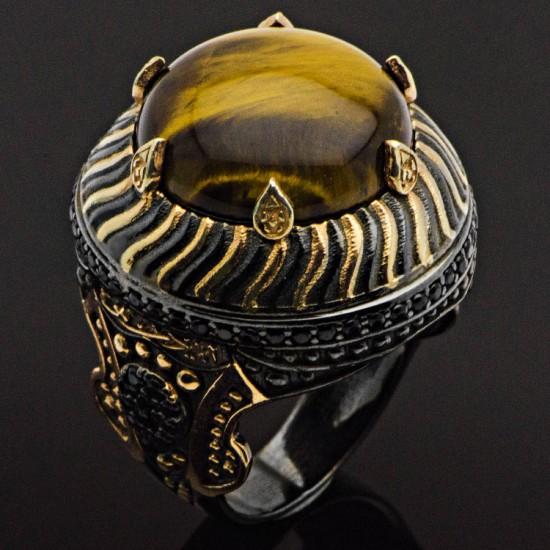 Özel Tasarım Kaplan Gözü Padişah Miğferi Gümüş Erkek Yüzük 925 Ayar