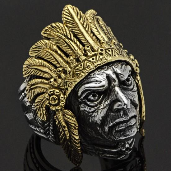 Özel Tasarım Kızılderili Şefi Gümüş Erkek Yüzük