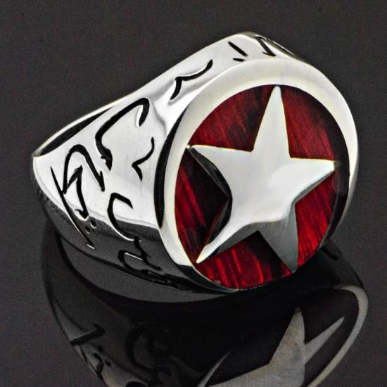Mehmetçik Dizisi Kutül-Amare Kırmızı Mineli Ay Yıldız Gümüş Yüzük 925 Ayar