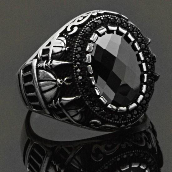 Oniks Taşlı Cami Figür Gümüş Erkek Yüzük 925 Ayar