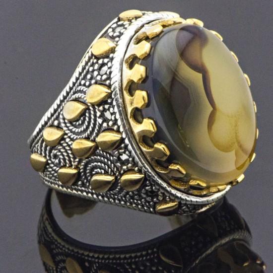 Orijinal Yemen Akik  Taşı  Gümüş Erkek Yüzük 925 Ayar-14200070518762
