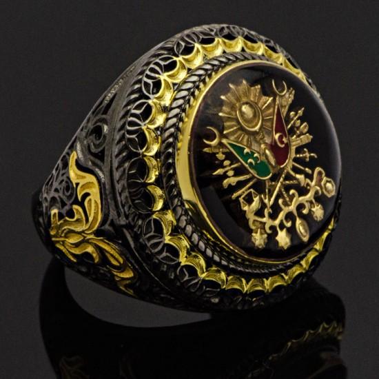 Özel Tasarım Siyah Mineli Osmanlı Devlet Sancağı Gümüş Erkek Yüzük