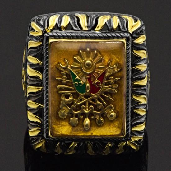 Özel Tasarım Osmanlı Devlet Sancağı Gümüş Erkek Yüzük 925 Ayar