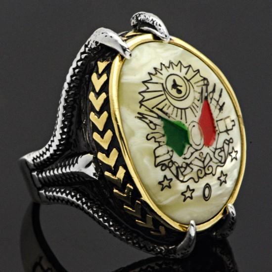 Sedef Taşlı Osmanlı Devlet Armalı Gümüş Erkek Yüzük 925 Ayar