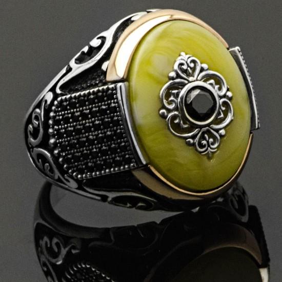 Sıkma Kehribar Taşlı Gümüş Erkek Yüzük 925 Ayar