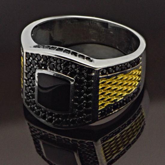 Siyah Oniks ve Zirkon Taşlı Gümüş Erkek Yüzük 925 Ayar