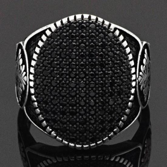 Popüler Siyah Zirkon Taşlı Gümüş Erkek Yüzük 925 Ayar
