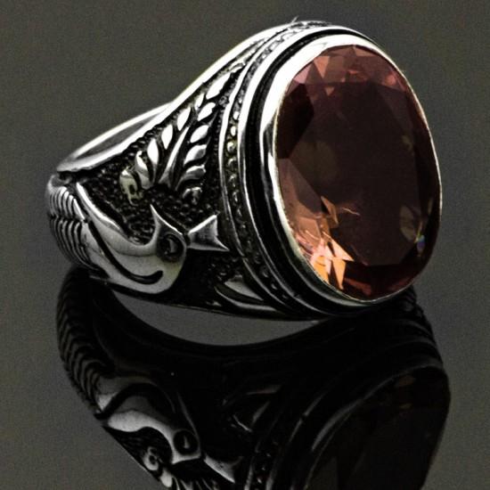 Orijinal Zultanit (Işığa Göre Renke Değiştirir) Gümüş Erkek Yüzük 925 Ayar