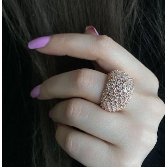 Baget Taşlı Küre Model Rose Gümüş Kadın Yüzük 925 Ayar