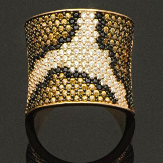İtalyan Tasarım Leopar Desenli Gümüş Kadın Yüzük 925 Ayar