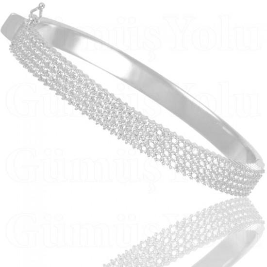 Beyaz Zirkon Taşlı Gümüş Kelepçe Kadın Bileklik 925 Ayar