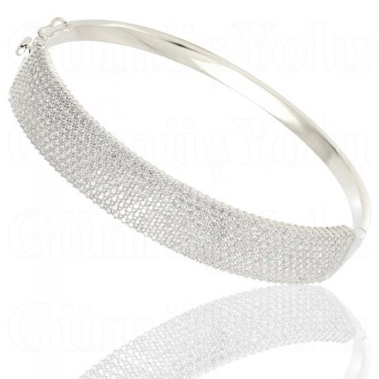Beyaz Zirkon Taşlı Kelepçe Model Gümüş Kadın Bileklik 925 Ayar