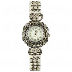 İnci, Markazit ve Sedef Kadranlı Gümüş Kadın Saat 925 Ayar