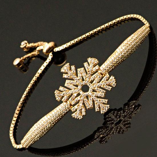 Kar Tanesi Figür Rose Gümüş Kadın Bileklik 925 Ayar