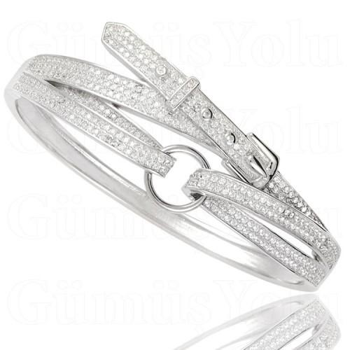 Zirkon Taşlı Kelepçe Model Gümüş Kadın Bileklik 925 Ayar