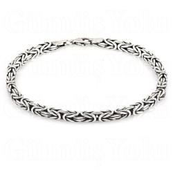 4 mm Kare Kral Zincir Bileklik 925 Ayar Gümüş