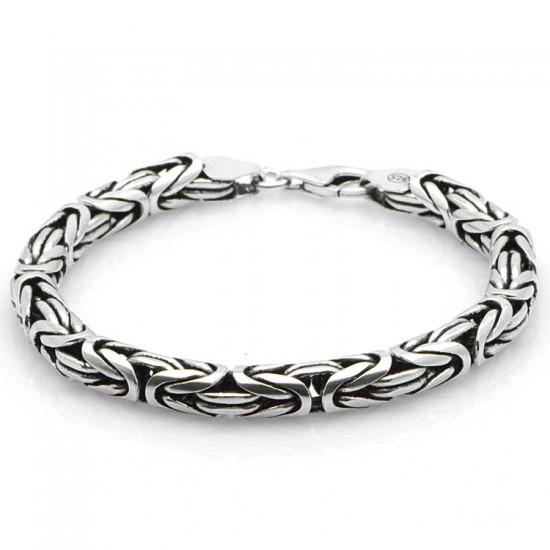 Kalın Yuvarlak  Kral Zincir Bileklik 925 Ayar Gümüş