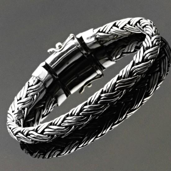 Burgu Model Gümüş Erkek Bileklik 925 Ayar