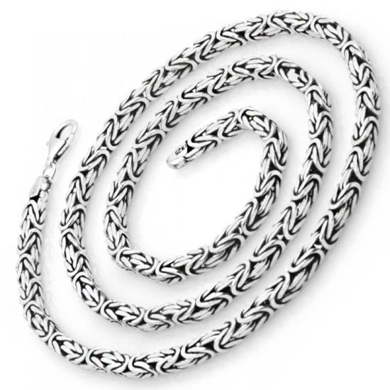 4,5mm Kare Kral Zincir 925 Ayar Gümüş