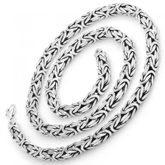 6,5 mm Kare Kral Zincir Bileklik 925 Ayar Gümüş