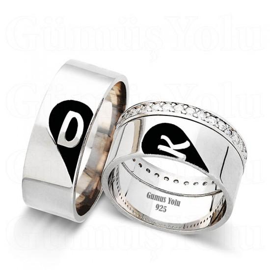 Kişiye Özel Kalbimin Yarısı Harfli Çift Alyans 925 Ayar Gümüş GY 132