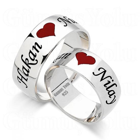 Kişiye Özel Kalpli Çift Alyans 925 Ayar Gümüş GY 108