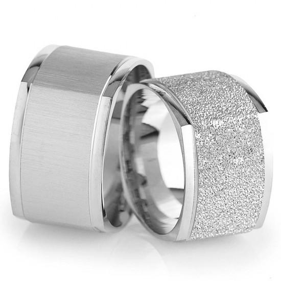 Köşeli Klasik Çift Gümüş Alyans