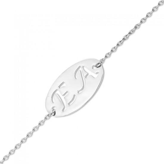Kişiye Özel Harfli Bileklik 925 Ayar Gümüş