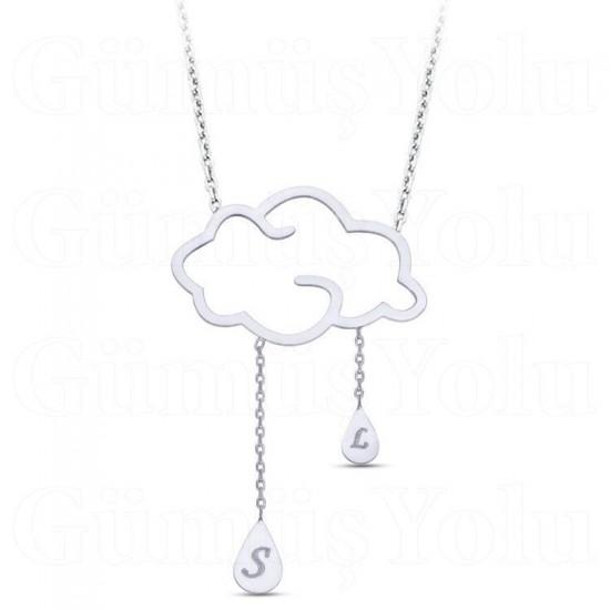 925 Ayar Gümüş Kişiye Özel Harfli Bulut ve Yağmur Damlaları Kolye