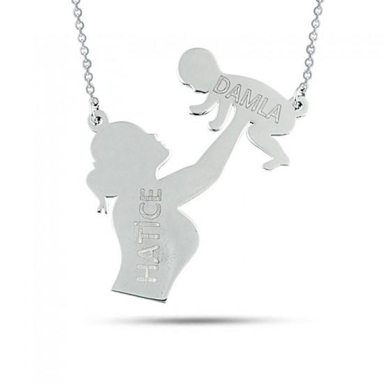 Anne Bebek Kişiye Özel İsimli Kolye 925 Ayar Gümüş