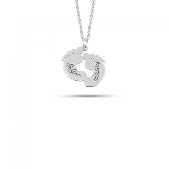 Bebek Ayak İzi Kişiye Özel isim Tarihli Kolye 925 Ayar Gümüş