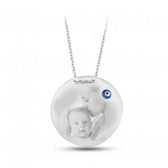 Bebek Ve Anne Resimli Plaka Kolye 925 Ayar Gümüş