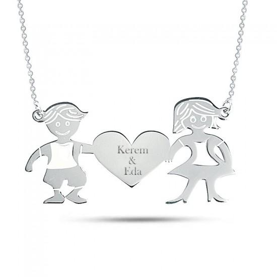Çocukluk Aşkım Kalp Figür Kişiye Özel Kolye 925 Ayar Gümüş