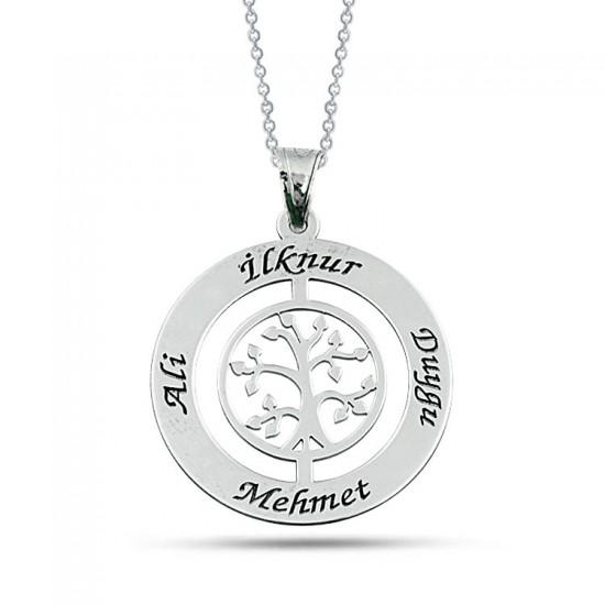 Hayat Ağacı Kişiye Özel Aile Kolyesi 925 Ayar Gümüş